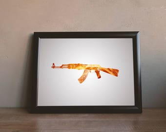 Printable AK 47 Gun Wall Art