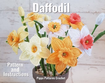 Crochet Daffodil Flower Pattern Plant Easter Spring Decoration Home  Handmade Yellow White Orange
