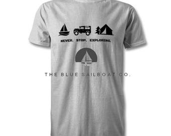Land Rover Never Stop Exploring T Shirt, Classic, Novelty T-Shirt, Cars, Novelty Gift, Defender T-Shirt, Land Rover T-Shirt Adults