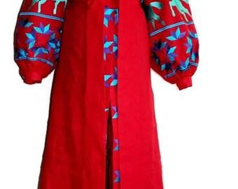 Ukrainian Vyshyvanka Dress Bohemian Clothes Vishivanka Kaftan Dubai Abaya Dresses Boho Clothing Ukraine embroidery Open in front Caftan