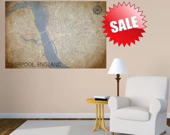 LIVERPOOL ENGLAND map canvas oversized canvas art retro map wall art vintage world map liverpool poster world map wedding canvas map print