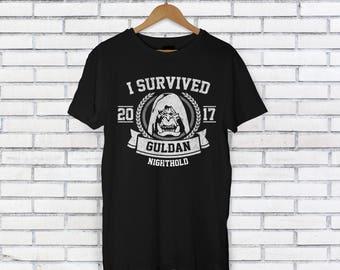 World of Warcraft Inspired Shirt - I Survived Guldan Shirt - WoW Legion Gift - Nighthold Raid Shirt - Azeroth Raider Shirt - Raiding Gift