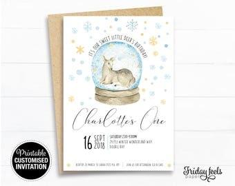 Deer Birthday Invitation, Winter woodlands, printable invite, winter birthday party personalised Digital Download