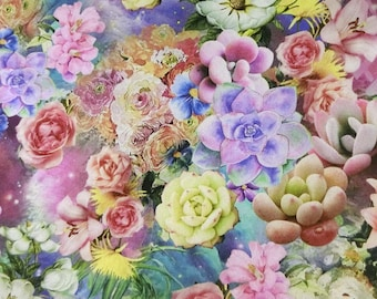 Digital colorful flowers print faux silk satin fabric 156cm Wide for dressmaking, Decor by the meter YGST-5024