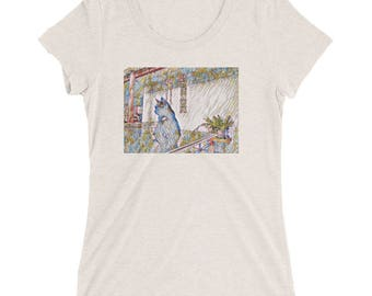 Comfortable T shirt // Cat and Art Lovers // Architecture Design // Casual Dress up T-shirt // Unique Design // Ladies' short sleeve t-shirt