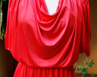 80s Red Slinky Dress Pearl Embroidery