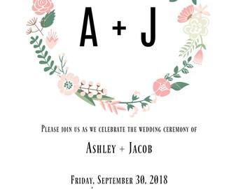 Floral Wreath Wedding Invitation!