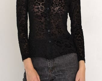 VINTAGE Black GULERO Floral See Through Long Sleeve Retro Shirt