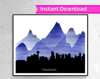 Vancouver Skyline Digital Print, skyline prints, vancouver, british columbia, mountain skyline, skyline silhouette, vancouver silhouette