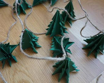 Paper Christmas tree garland