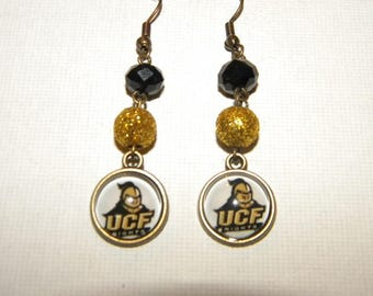 UCF University of Central Florida Game Day Drop Earrings Bronze & Glitter