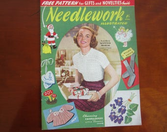 NEEDLEWORK Illustrated no 215 1950'S CHRISTMAS EDITION with free pattern 1952 issue