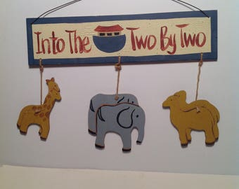 Into the Ark Two by Two Wooden Wall Hanging