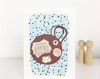 illustrated postcard Paris Café