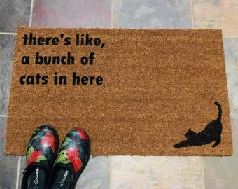 Thereu0027s like a bunch of cats in here Hand Painted Coir Doormat Funny Cat & Cat doormat | Etsy pezcame.com