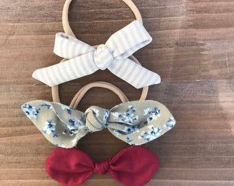 Set of 3 Fabric Bows