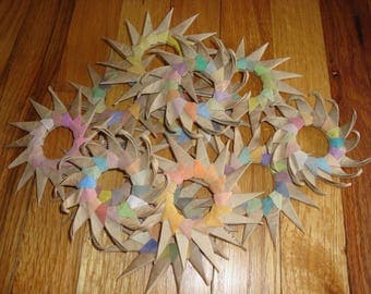 earth pigments watercolor recycled paper star holiday ornament wreath