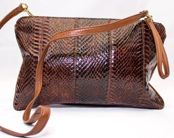 1980's Vintage Palizzio Snakeskin  Clutch with Removable Handle