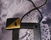 Black & Gold Minimalist modern ceramic / Ceramic pendant / Modern ceramic jewelry / Minimal jewelry / Square Necklace