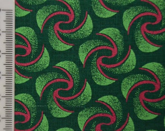 Shweshwe - South African Cotton - Green Islands - Green and Pink.