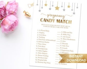 Baby Shower Game Pregnancy Candy Match | How sweet it is game | Gender neutral games | Instant download | Dunjica Design