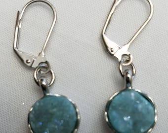 Blue druze earrings