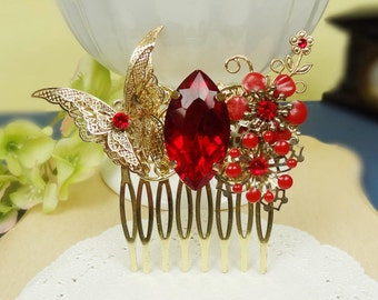 Crystal Hair Comb Red Wedding Hair Comb Rhinestone Hair Comb Bridal Hair Comb Vintage inspired Christmas Gifts Ideas for friends