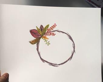 Minimal Autumn Wreath Watercolour