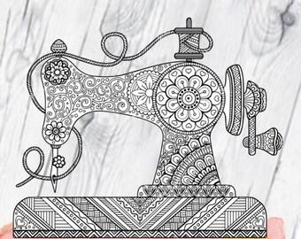 Zentangle Sewing Machine Printed Vinyl Decal, Vinyl Decal, Crafts, Sewing, Sewing Machine Decal