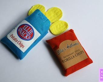 PERSONALIZED - Felt Food - Felt Food Set - Felt Food Toy - Felt Chips - Pretend Food - Play Food - Felt Chip Bag - Felt Toy - Toy Food
