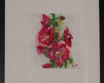 Original watercolor of flowers - roses trémières painting floral-small format Original watercolor flowers - hollyhocks-painted Flowers.