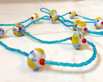 Lampworked Glass, Long, Beaded Necklace and Earring Set