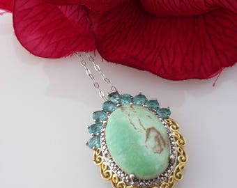 """Utah Variscite (13.65 ct), Paraiba Apatite, Diamond Pendant with 20"""" Chain in Platinum and 14K YG Over 925 Sterling Silver"""