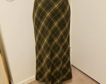 Vintage, Maxi, Plaid,  Retro Skirt by Rena Rowan, size 10