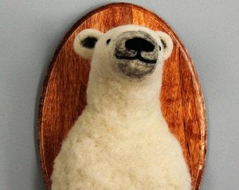 Needle Felted 3D Polar Bear Portrait
