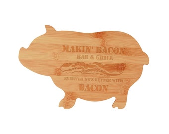 Pig Shaped Cutting Board, Mother's Day Present, Father's Day Present, Cookware, Kitchen, Dining, Cutting Board, Farm Animal, Housewarming