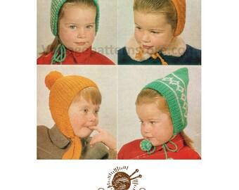 Boys girls bonnet cap pixie hat - Ages 1 - 4 years - Vintage PDF Knitting Pattern 451