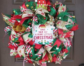Christmas Elf Wreath, Elf Legs Wreath, Christmas Wreath, Holiday Deco Mesh Wreath