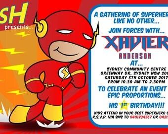 The Flash Kids birthday party invite