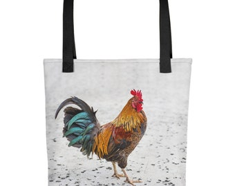 Chicken Rooster Farmers Market Tote Bag, Grocery Shopping, Vegetable Farm Produce Fruit Apples Washable Fabric Unique Big Bird Bantam Nature