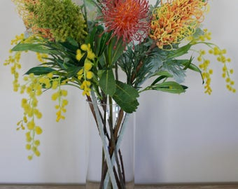 Australian Native artificial flowers, in a cylinder glass vase