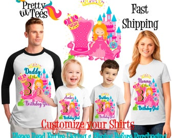 PRINCESS Birthday Girl Theme Family WHITE Shirts For the Entire Family Mom Dad Brother and More T-shirts Long/ Short sleeve Raglan castle