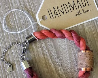 Fabric Rope Bracelet with Copper Cork Charm - Tamarillo Pink and Purple