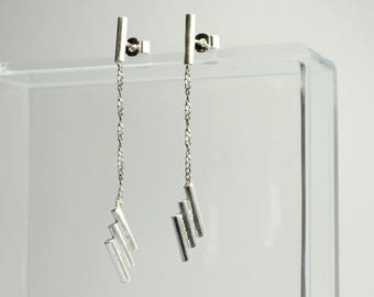 Silver Stripe Drop Studs