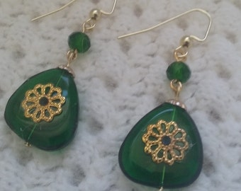 Handsome glossy deep emerald green earrings-filigree flower-emerald faceted bead-gold ear wires (nickel free)