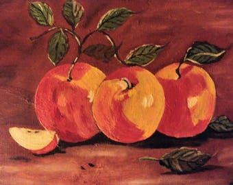 Apple Orchard, oil on canvas, small table