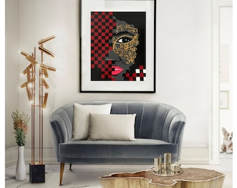 Acrylic painting woman/checkerboard