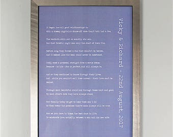 Bespoke, Personalised Wedding Poem/Reading - Printed and Framed A4 20 Lines