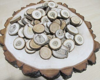 50 Mixed Wood Slices , Wood Slices for sale, Tree Slices, Branch Slices for Craft, Rustic Tree Slices, Wood Slices for Crafts,
