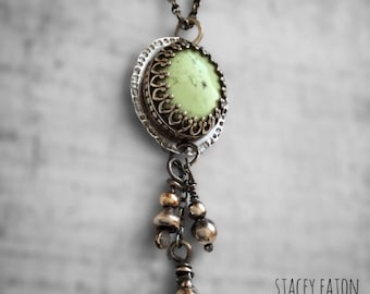 Silver And 9CT Gold Necklace / OOAK Necklace / Green Chelcedony Pendant / 9CT Gold Necklace / One Of A Kind Necklace / Sterling Silver